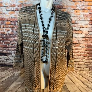 Simply Emma Brown & White Long Open Cardigan